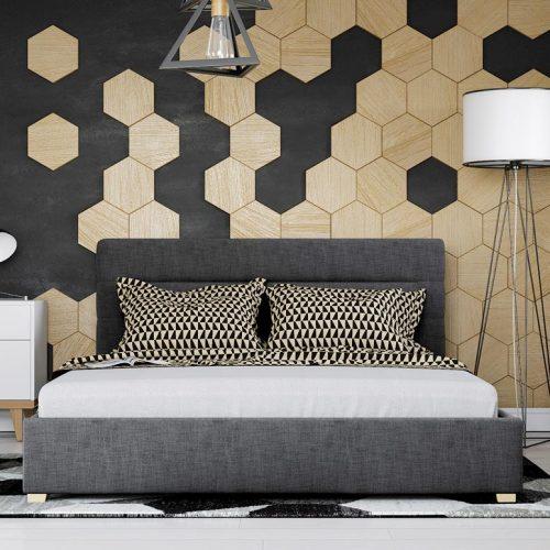 Fotorealistyczna wizualizacja sypialni z motywem sześciokątów