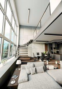 Fotorealistyczna wizualizacja apartamentu górskiego 120m2 render1