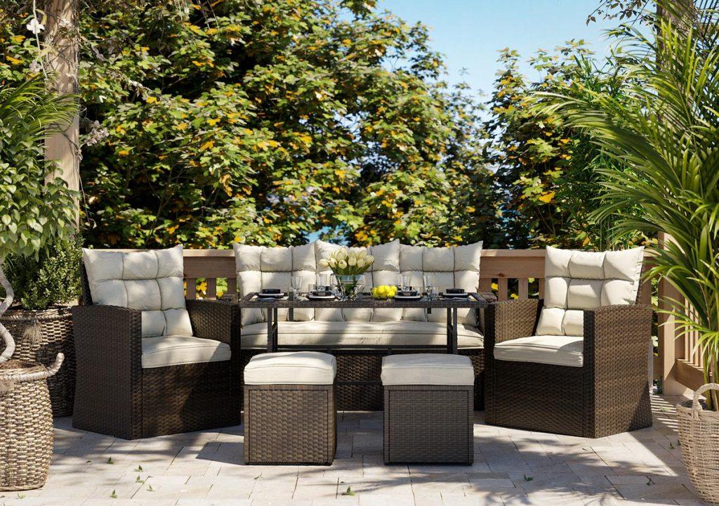 Wizualizacja mebli produktowych w kolorze brązowym i beżowym w otoczeniu patio z duża ilością zieleni