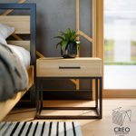 Fotorealistyczna wizualizacja mebli loftowych w sypialni, ujęcie na stolik boczny do sypialnu i kwiat typu aloes przy łóżku