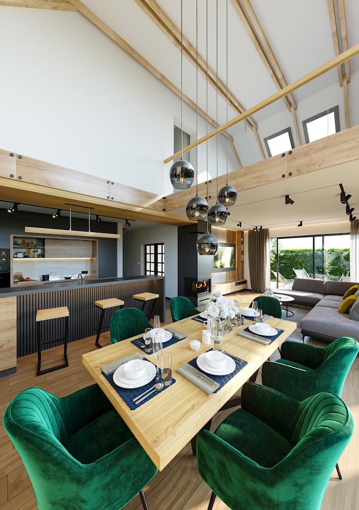 Projekt wizualizacji wnętrza salon z kuchnią w nowoczesnym wydaniu Wnętrze wraz z antresolą z duża ilością drewna i betonu