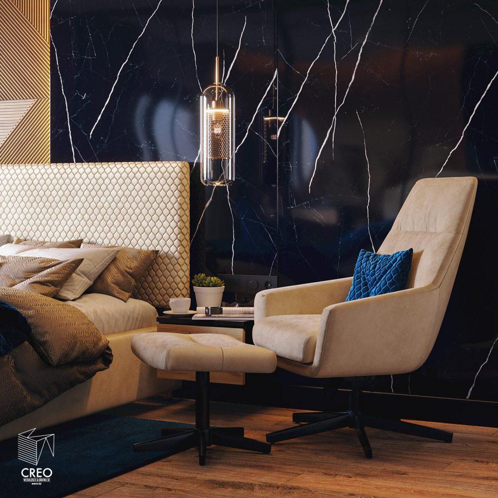 Projekt wizualizacji fotorealistycznej wnętrza sypialni w stylu nowoczesnym z użyciem materiałów drewna i kamienia w bardzo ciepłym akcencie