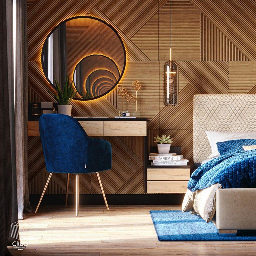 Projekt wizualizacji fotorealistycznej wnętrza sypialni w stylu nowoczesnym z użyciem materiałów drewna i kamienia w bardzo ciepłym akcencie i nieskończonym efekcie lustra