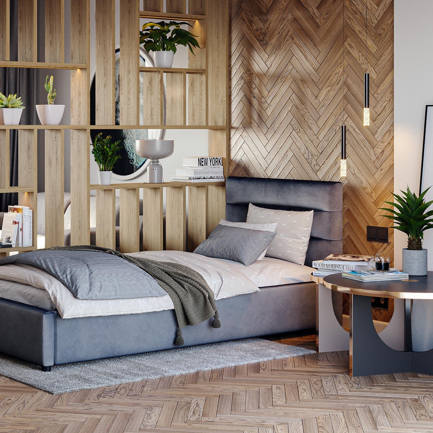 Projekt wizualizacji fotorealistycznej wnętrza salonu z odzie leniem otwartej przestrzeni na salon i sypialnie