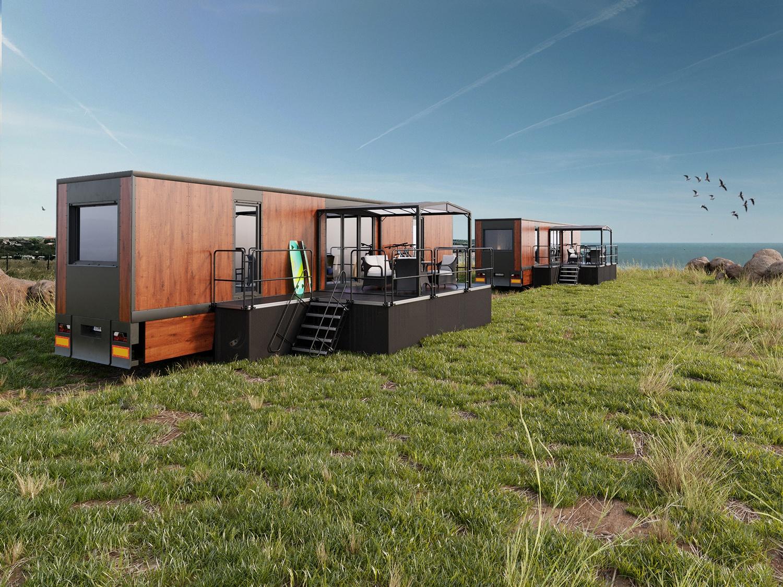 Fotorealistyczna wizualizacja naczepy która jest mobilnym hotelem stoji na wzniesieniu morza bałtyckiego