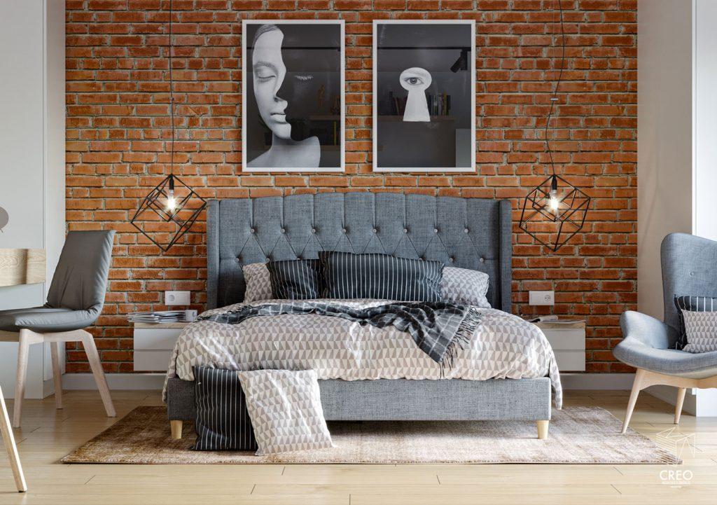 Fotorealistyczna wizualizacja sypialni z łóżkiem tapicerowanym